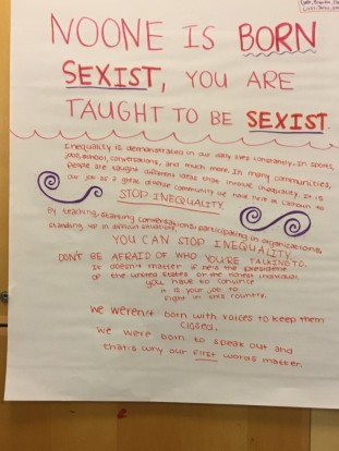 Breakout group's illustration for their presentation on sexism.
